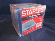 Staples brand 25 Slim Jewel Cases NEW in SHRINKWRAP in Lockport, Illinois
