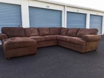 Large Three Piece Brown Sectional Couch in Camp Lejeune, North Carolina