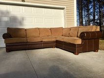 Tan Brown Leather and Fabric Sectional Couch in Camp Lejeune, North Carolina