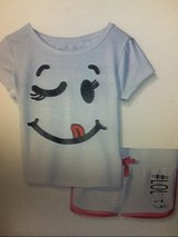 NEW dream star little girls toddler short sleeve smiley print 2 piece set white nwt in Kingwood, Texas