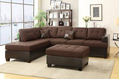 New Chocolate Linen Sectional ++Ottoman **LINEN* FREE DELIVERY in Vista, California