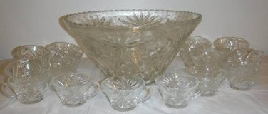 Vintage Cut Glass Punch Bowl + 20 cup Set in Bolingbrook, Illinois