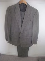 custom tailored men's suit,  silk, wool, polyester, 37 short, 28.5 waist-dry cln in Plainfield, Illinois
