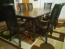 Dining Set w/8 Leather Upholstered Captain's Chairs & 2 Leaves in Fort Lewis, Washington