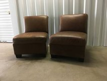 Two Pottery Barn, Trevor, Leather Slipper Armless Chairs in Naperville, Illinois