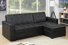 New Black Leatherette Sofa Futon Bed + Storage ✿  FREE DELIVERY in Camp Pendleton, California