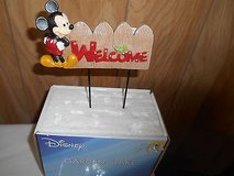 "New Disney MICKEY MOUSE Garden Stake:        5 1/2"" wide  x 7"" tall!   WELCOME in Bellaire, Texas"
