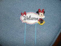 "New Disney MINNIE MOUSE Garden Stake:        5 1/2"" wide  x 7"" tall!   WELCOME in Bellaire, Texas"