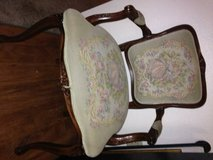 Hand-Carved Look ACCENT CHAIR Padded Fabric Seat Color Antique Oak Fin in Roseville, California