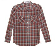 Old Navy Fitted Rust Plaid Western Pearl Snap 2 Pocket Shirt Mens Small in Morris, Illinois