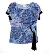 Jaclyn Smith Purple Blue Leopard Blouse Womens Plus 2X Waist Side Tie 18w 20w in Joliet, Illinois