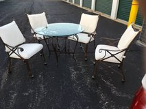 Gorgeous round metal table with patina copper /bronze finish in Lockport, Illinois