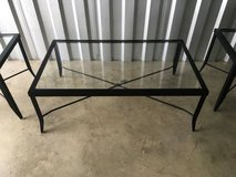 Black Metal and glass, Coffee Table W/Two End Tables - $225 (Plainfie in Lockport, Illinois