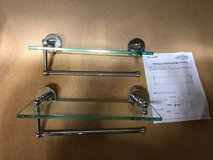 "(2) Allied Brass 22"" Glass Shelves w/ Towel Bar - NEW! in Lockport, Illinois"