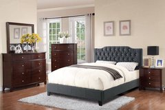 New Queen Size Tufted Blue Gray Linen Bed Frame FREE DELIVERY in Miramar, California