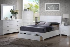 QUEEN White Bed with Storage- Dresser Mirror Option FREE DELIVERY in Miramar, California