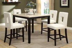 Cream Marble Finish Counter Table + 4 White Chairs Set FREE DELIVERY in Miramar, California