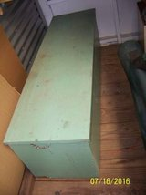 'FIREWOOD' STORAGE BOX / TRUNK- ANTIQUE SOLID WOOD painted green in Conroe, Texas
