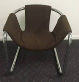 Vintage Chocolate Brown Stainless Steel Sling Back Chair in Waukegan, Illinois