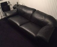 VINTAGE BLACK LEATHER COUCH in Waukegan, Illinois