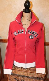 Chicago Blackhawks Red Full Zip Jacket, 47 Brand, Appliqued, Woman's Small in Joliet, Illinois