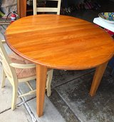 Solid Oak Kitchen Table 48-inch Round Plus 3 Leaves, Table Only, No Chairs in Glendale Heights, Illinois