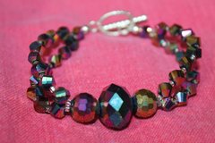Double Strand Beaded Bracelet, Iridescent  Beads, Toggle Close in Naperville, Illinois