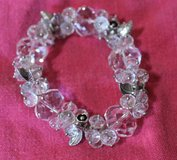 Crystal Clear Lg & Sm Stones, Silver Flowers/Leaves Charms Stretch Bangle in Naperville, Illinois