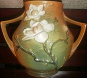 Antique Roseville Brown Magnolia Double Handle Vase 1940s Urn in Glendale Heights, Illinois