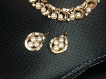 Stunning 1960'S Crown Trifari Gold Tone Faux Pearls & Rhinestone set in Sacramento, California