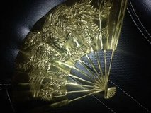 "Vintage Solid Brass Asian Fan Raised Phoenix Bird Design 11.5"" x 7"" in Travis AFB, California"