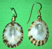 vintage gold wire white and brown shell pierced dangling earrings in San Bernardino, California