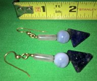 vintage black white plastic bead pierced dangling earrings in Riverside, California