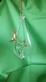 blown glass figurine - clear hanging shark ornament with gold trim in Riverside, California