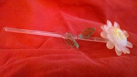 blown glass figurine - peach colored flower with green leaves and clear stem in Riverside, California