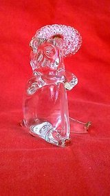 blown glass figurines - clear glass standing bear with umbrella with gold trim in Riverside, California
