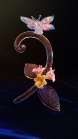 Blown Glass Figurine - blue painted butterfly with flowers on clear glass in Riverside, California