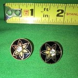 Vintage pierced earrings black enamel gold tone crystal stone in Riverside, California
