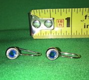 Vintage pierced earrings blue topaz stone silver tone in Riverside, California
