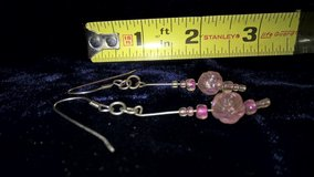 Vintage pierced dangling earrings plastic light pink beads in San Bernardino, California
