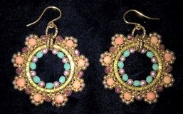 Vintage pierced dangling earrings peach and turquoise colored beads gold tone in San Bernardino, California