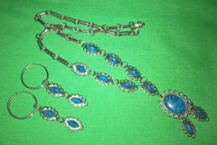Vintage sterling silver turquoise necklace and pierced dangling earrings in Riverside, California