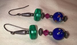 Vintage blue specked, pink, green plastic bead pierced dangled earrings in Riverside, California