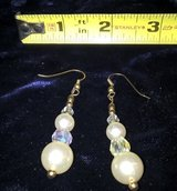Vintage white and clear plastic bead pierced dangled earrings in Riverside, California