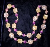 "Vintage cream, pink & purple tone plastic bead necklace 26""; in San Bernardino, California"