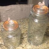 2 Glass jars rooster canisters mason jar tops 1 large tall 1 short in Beaufort, South Carolina