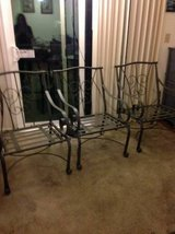 3 wrought Iron Patio Dining Arm Chairs Features Elegant Lattice Design in Vacaville, California