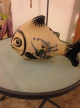 Hand Painted Pottery Fish z Mexico theme is pained with Exotic Bird in Roseville, California