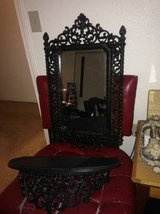 Gothic Wrought Iron Style Black Wall Mirror with Shelve in Roseville, California