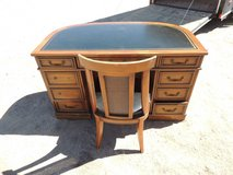 half moon antique office desk in laid leather w/ chair solid wood unique  local in Fort Carson, Colorado